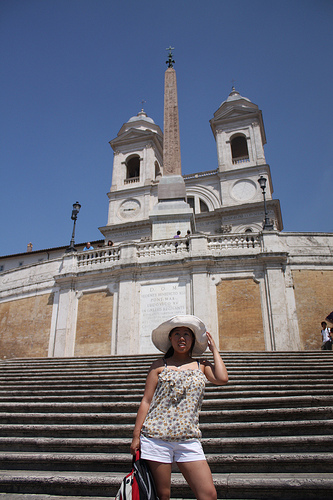 Posing on the Spanish Steps
