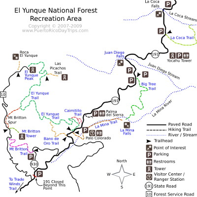 Trail Map for El Yunque