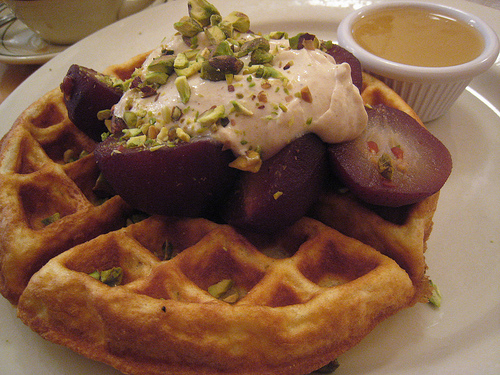Waffle w/ Pear and Sour Cream and Pistachio at Clinton Street Baking Company